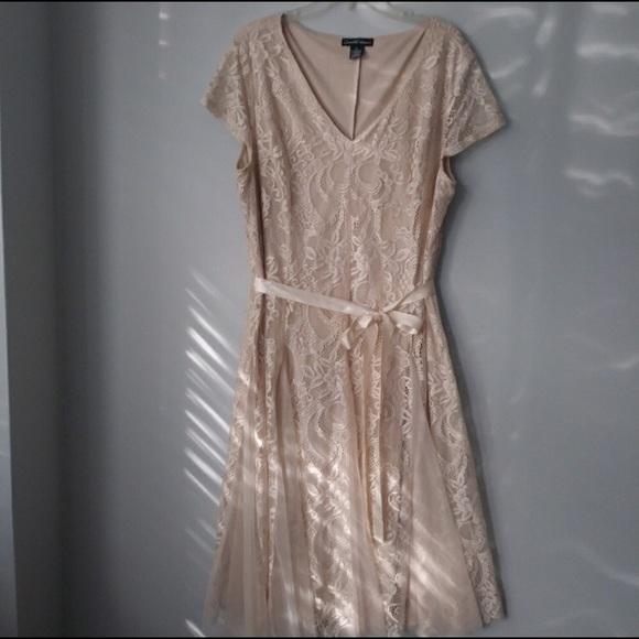 Dresses | Plus Size Cream Lace Dress | Poshmark